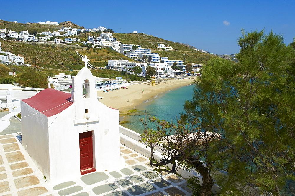 Agios Stefanos, Orthodox chapel near the beach, Chora, Mykonos Town, Mykonos, Cyclades, Greek Islands, Greece, Europe