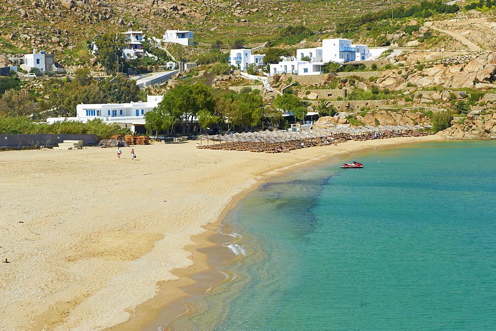 Super Paradise beach, Chora, Mykonos Town, Mykonos Island, Cyclades, Greek Islands, Greece, Europe