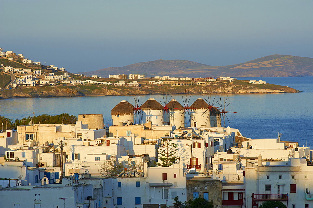 Five windmills (Kato Mili), old harbour, Mykonos town, Chora, Mykonos Island, Cyclades, Greek Islands, Greece, Europe