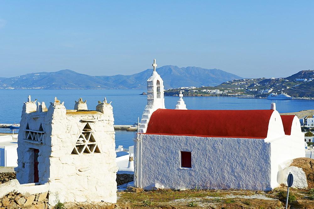 Red church, Mykonos town, Chora, Mykonos Island, Cyclades, Greek Islands, Greece, Europe