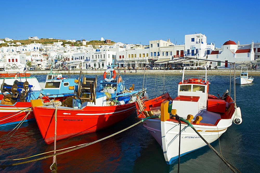 Old harbour and red church, Mykonos Town, Chora, Mykonos Island, Cyclades, Greek Islands, Greece, Europe