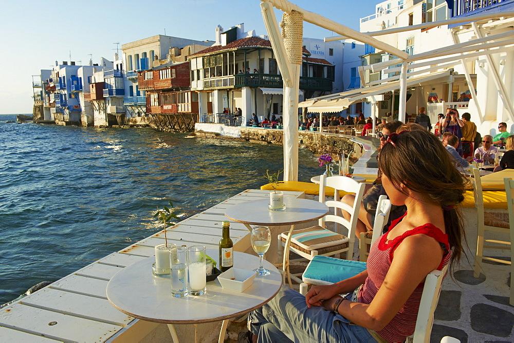Cafe bar on the sea side, Little Venice, Alefkandra, Mykonos Town, Chora, Mykonos Island, Cyclades, Greek Islands, Greece, Europe