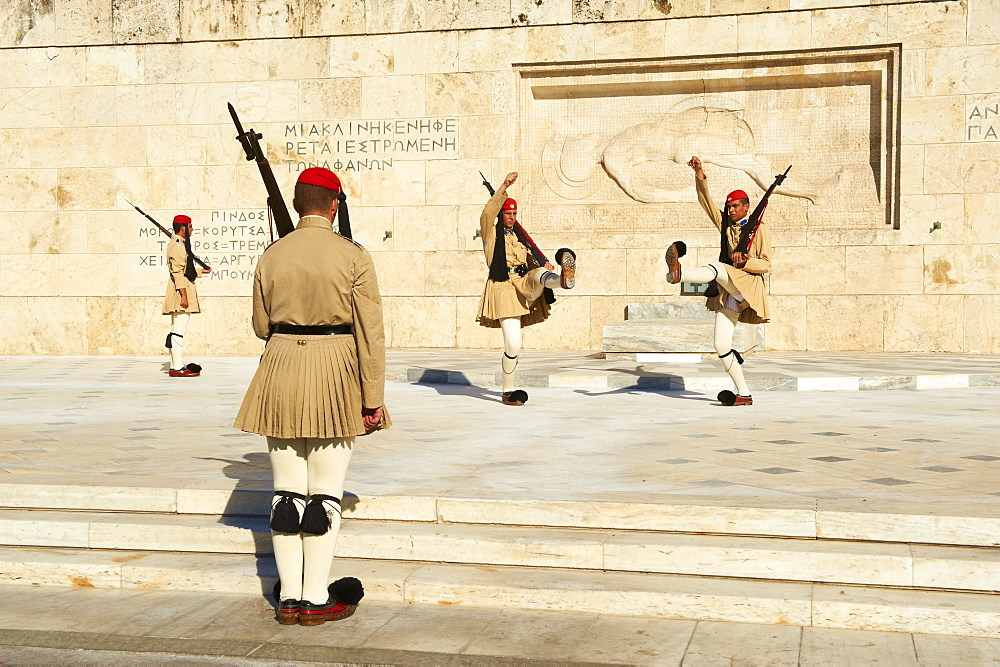 Evzone, Greek guards during the changing of the guard ceremony, Syntagma Square, Parliament Buildings, Athens, Greece, Europe