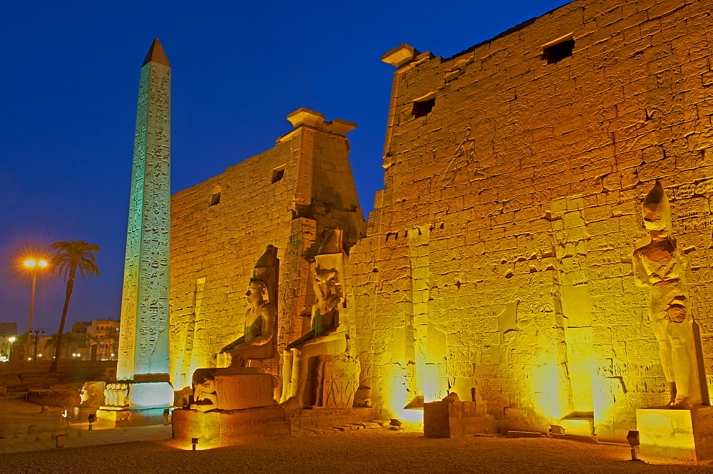 Obelisk of Ramesses II and pylons, Temple of Luxor, Thebes, UNESCO World Heritage Site, Egypt, North Africa, Africa