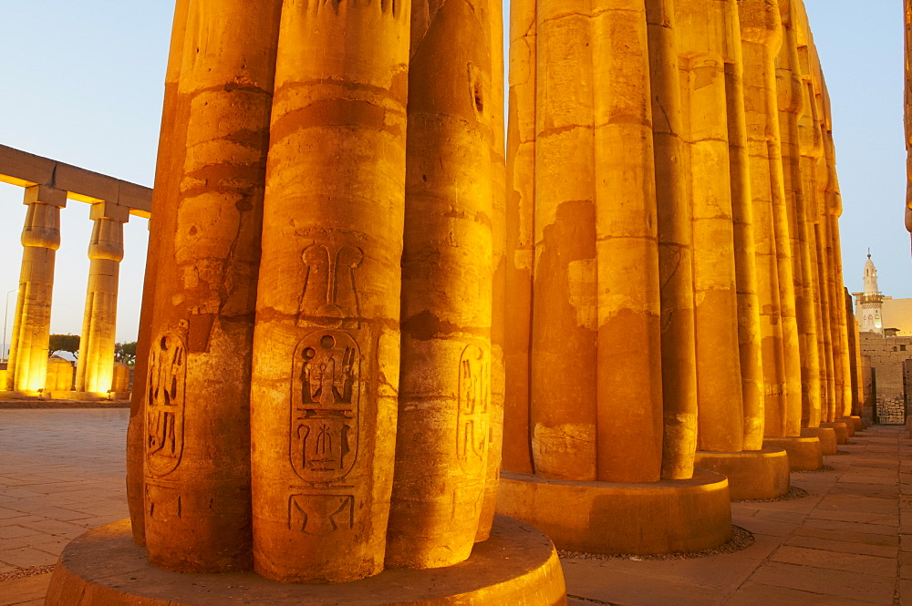Colonnades, pillars of stone, Temple of Luxor, Thebes, UNESCO World Heritage Site, Egypt, North Africa, Africa