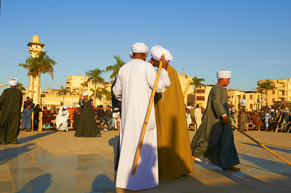 Tahtib demonstration, traditional form of Egyptian folk dance involving a wooden stick, also known as stick dance or cane dance, Mosque of Abu el-Haggag, Luxor, Egypt, North Africa, Africa