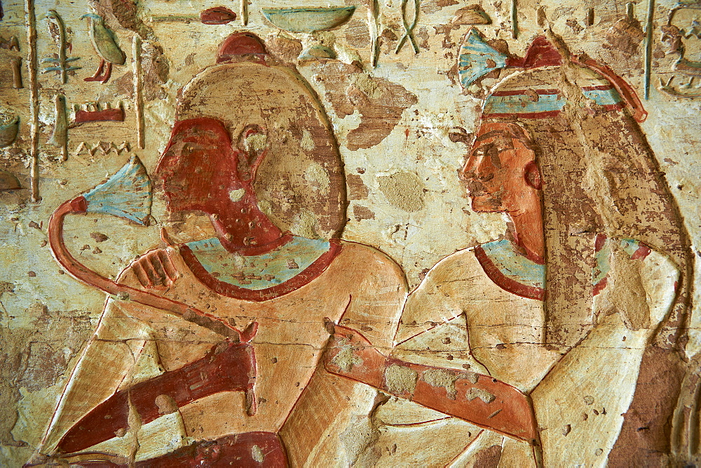 Detail from tomb, El Kab temple, Egypt, North Africa, Africa