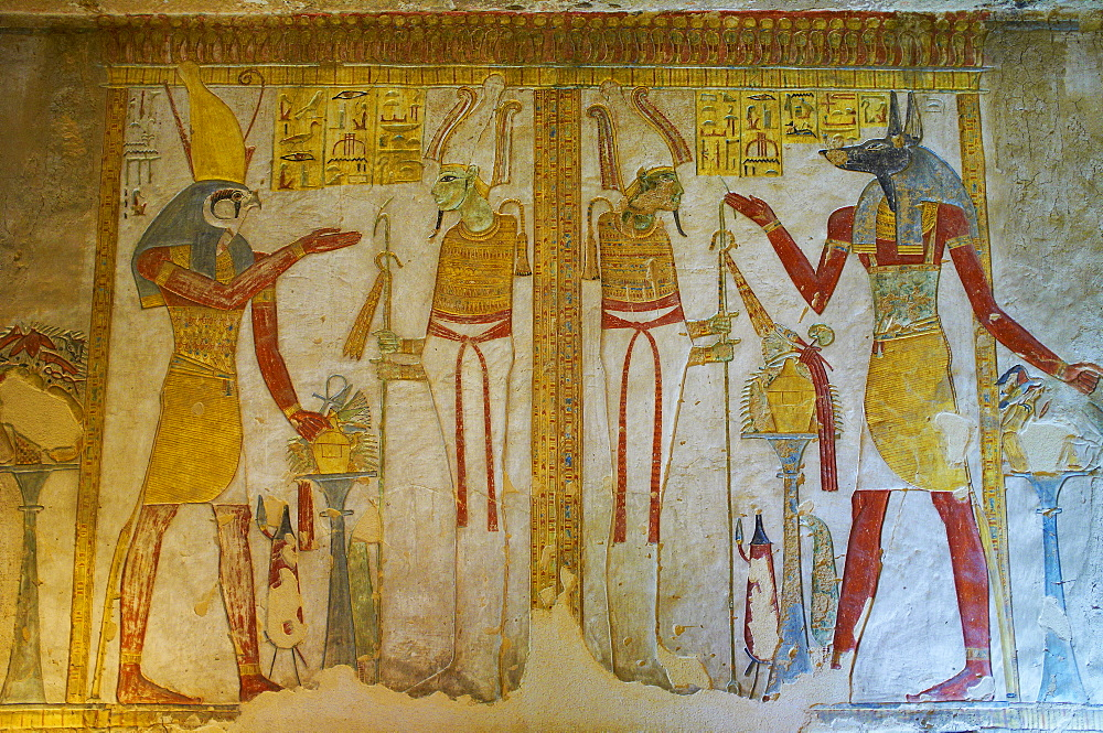 Bas-relief painted on the walls of the royal tomb, Setnakht tomb, Valley of the Kings, Thebes, UNESCO World Heritage Site, Egypt, North Africa, Africa