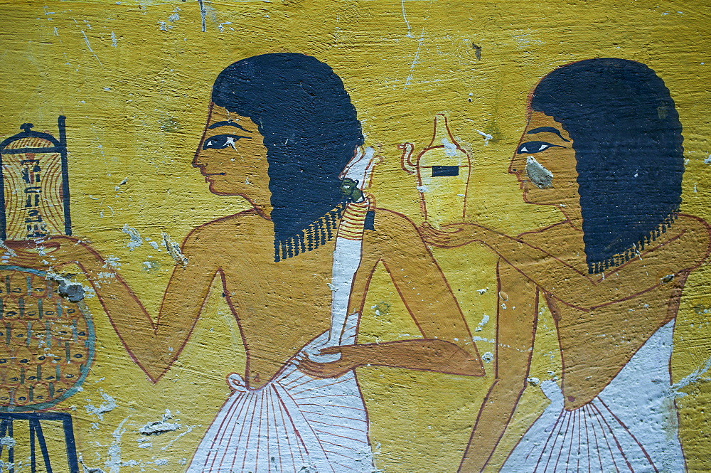 Wall paintings, Tombs of Nobles, West Bank of the River Nile, Thebes, UNESCO World Heritage Site, Egypt, North Africa, Africa