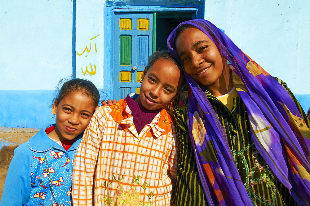 Young Egyptian girls, Ramadi village, Nile Valley between Luxor and Aswan, Egypt, North Africa, Africa