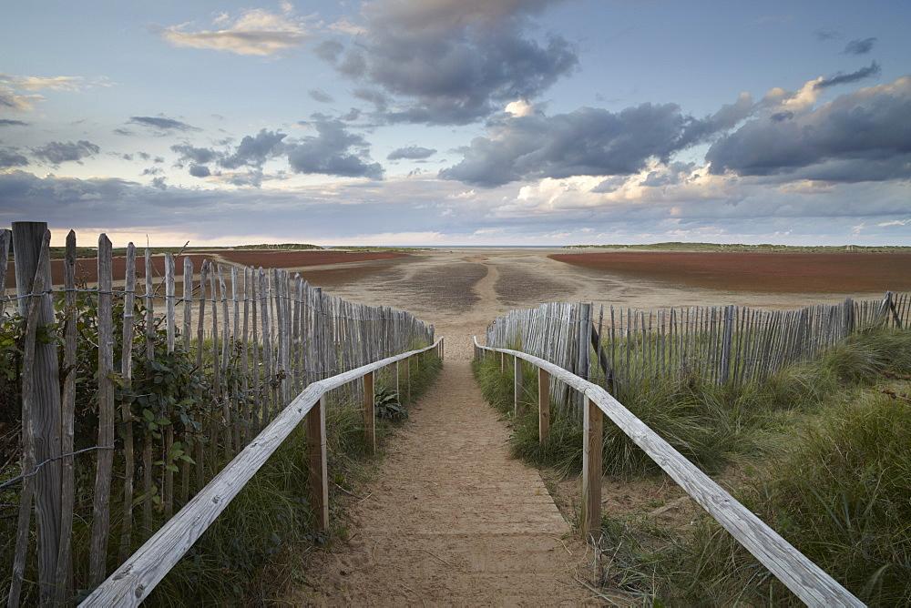 The steps to Holkham Gap at Holkham Bay, Norfolk, England, United Kingdom, Europe