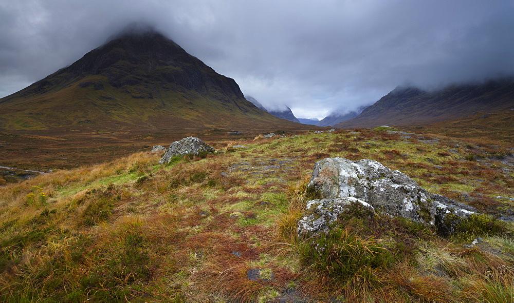 Low cloud hangs over Glencoe, Argyll, Scotland, United Kingdom, Europe