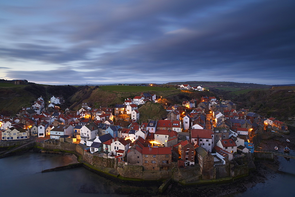 The view from Cowbar of the fishing village of Staithes, North Yorkshire, England