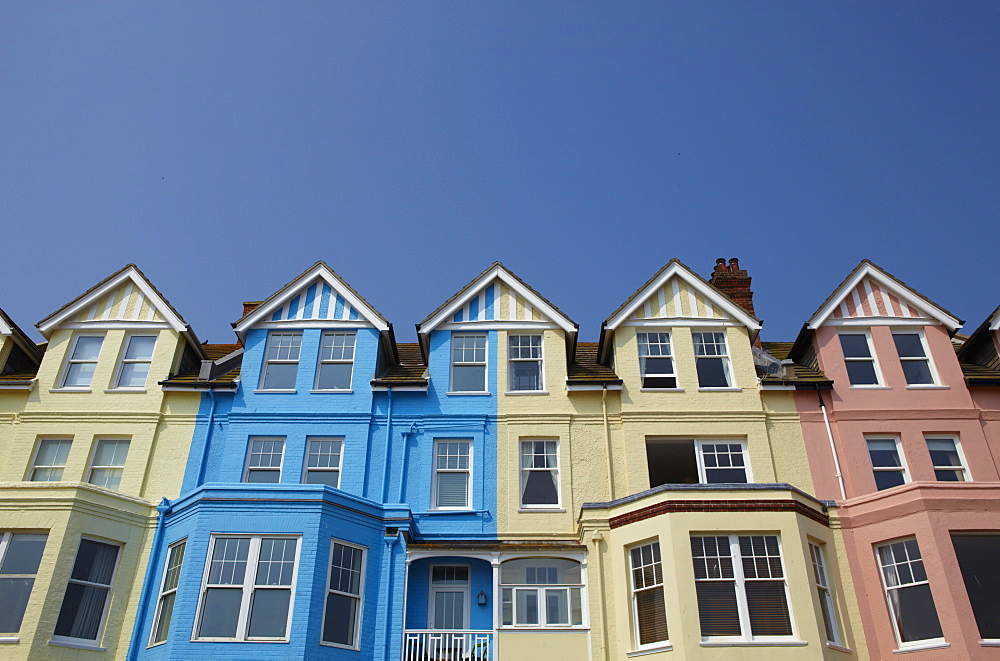 Colourful seafront houses at Aldeburgh, Suffolk, England, United Kingdom, Europe