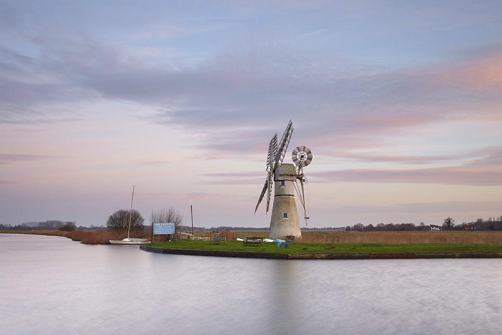 Dawn sky in the Norfolk Broads at Thurne, Norfolk, England, United Kingdom, Europe