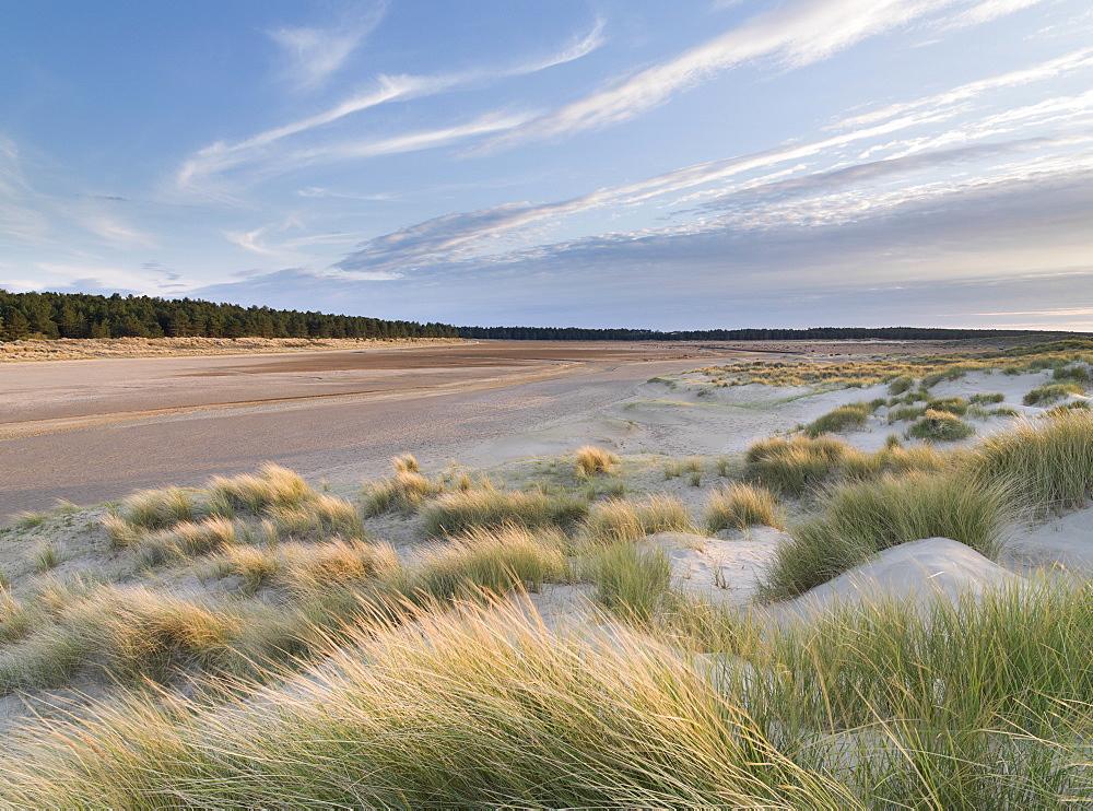 Beautiful evening light at Holkham Bay, Norfolk, England, United Kingdom, Europe