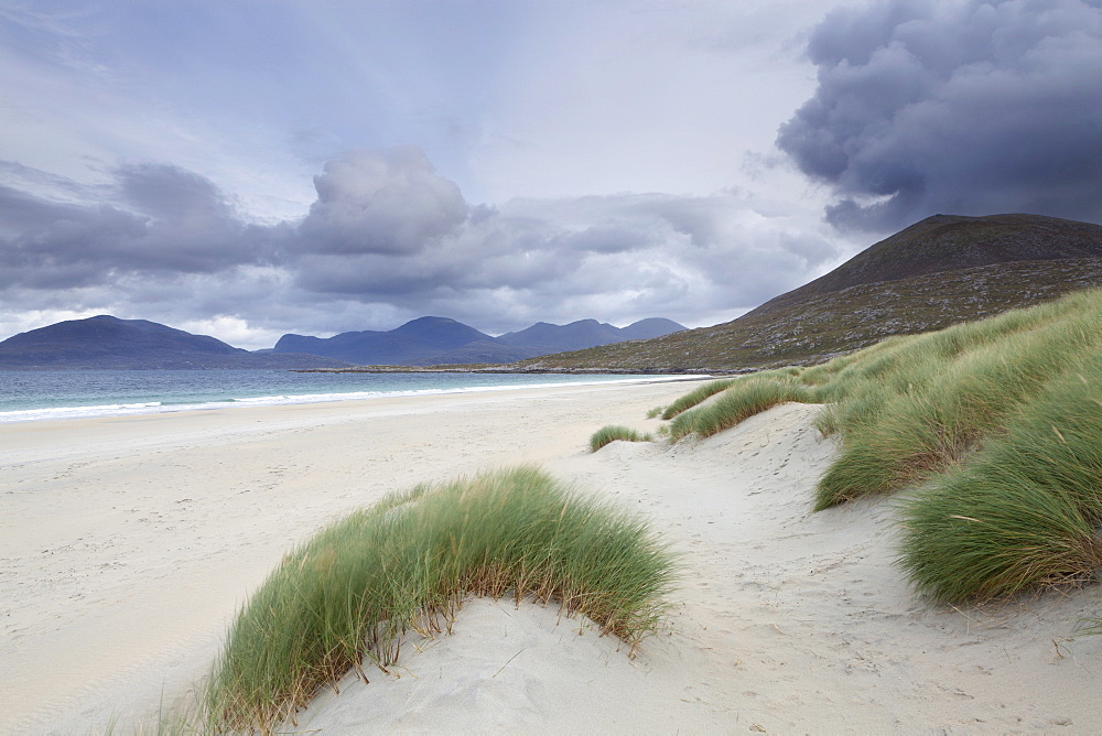 The mountains of North Harris loom large behind Luskentyre Bay, Isle of Harris, Outer Hebrides, Scotland, United Kingdom, Europe
