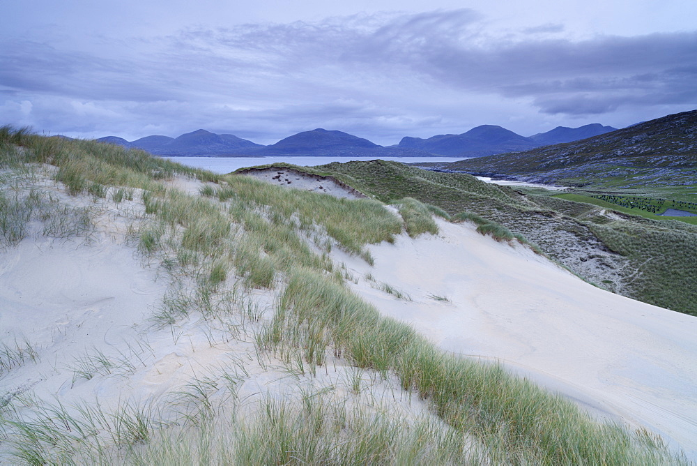 The Mountains of North Harris viewed from the dunes at Luskentyre, Isle of Harris, Outer Hebrides, Scotland, United Kingdom, Europe