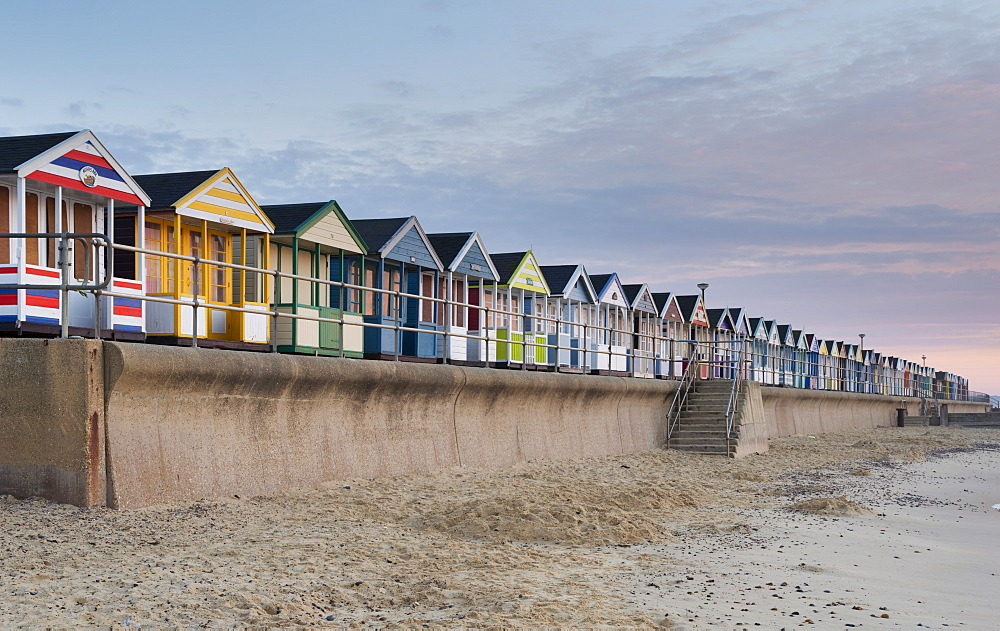 The seafront and the colourful beach huts at Southwold, Suffolk, England, United Kingdom, Europe
