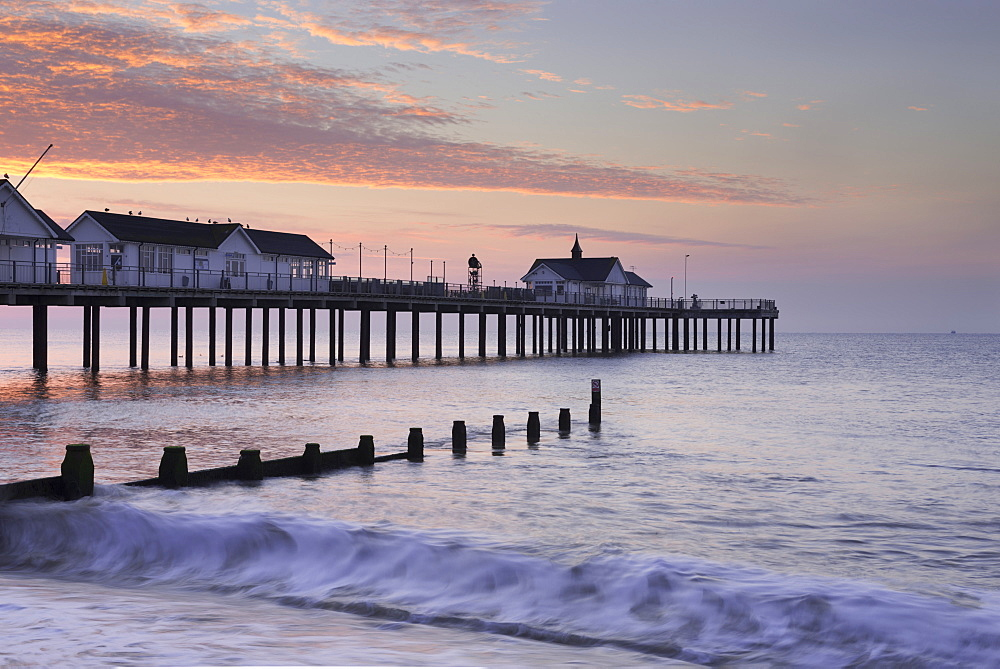 A summer morning view of the Pier at Southwold, Suffolk, England, United Kingdom, Europe