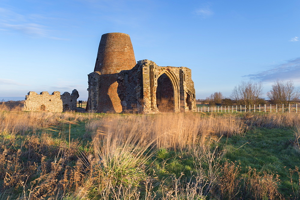 A view of St Benet's Abbey in the Norfolk Broads, Norfolk, England, United Kingdom, Europe