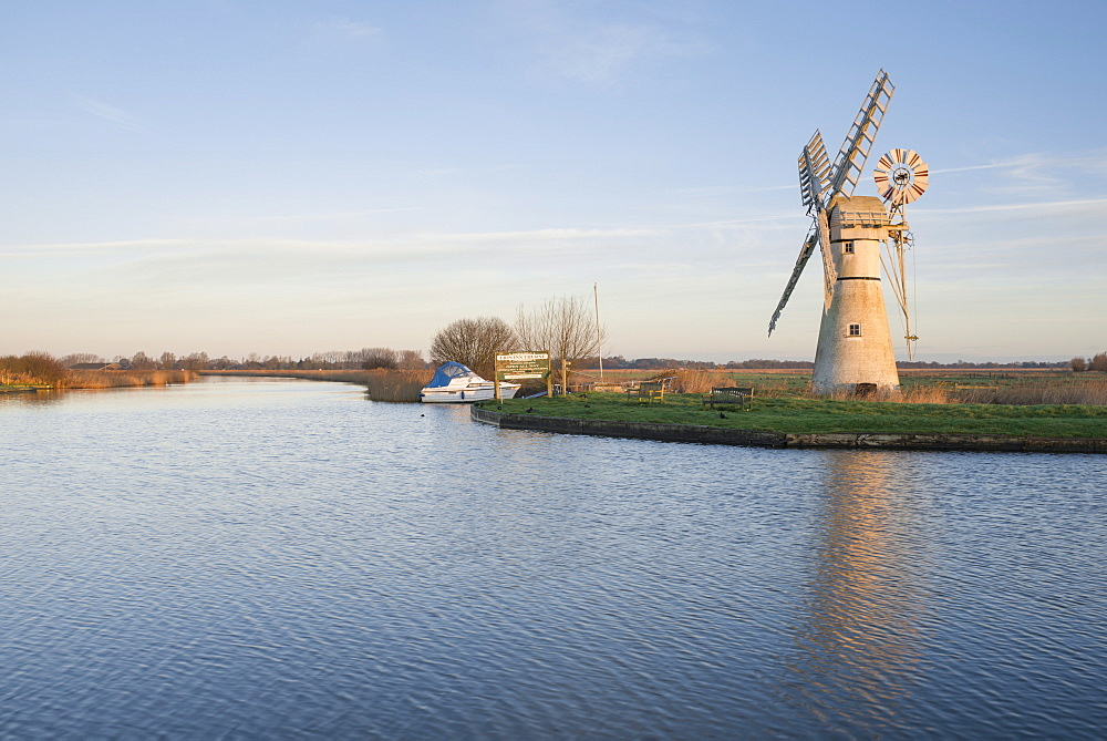 A view of Thurne Mill in the Norfolk Broads, Norfolk, England, United Kingdom, Europe