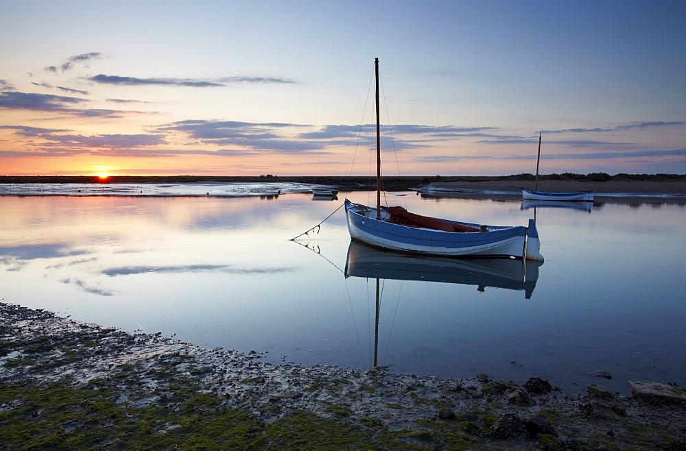 Sunset in spring at Burnham Overy Staithe on the North Norfolk Coast, Norfolk, England, United Kingdom, Europe