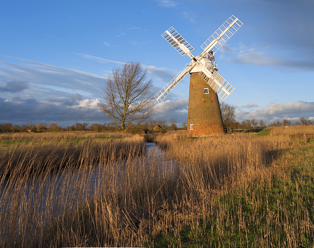 A view of Hardley Mill in the Norfolk Broads, Norfolk, England, United Kingdom, Europe