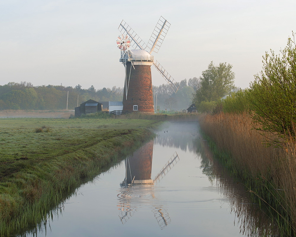 Horsey Mill on a misty morning, Norfolk, England, United Kingdom, Europe
