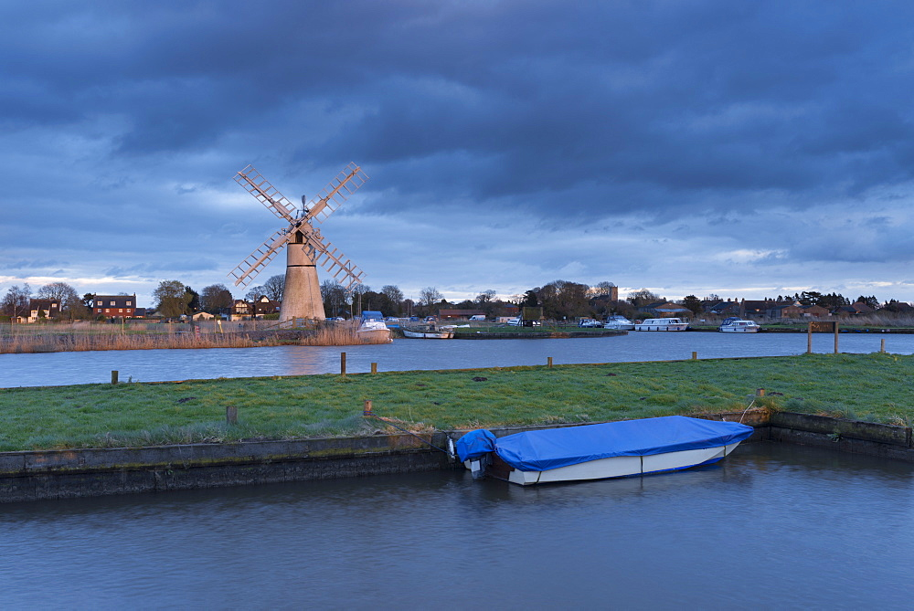 A view of Thurne Mill, Norfolk Broads, Norfolk, England, United Kingdom, Europe