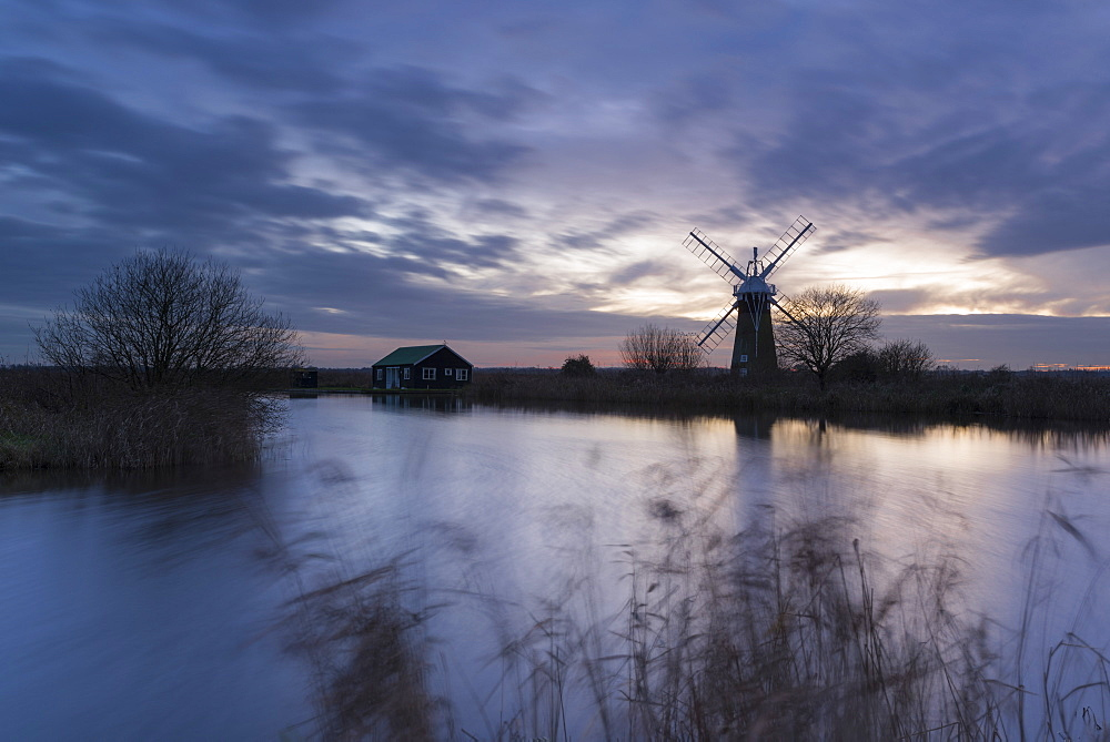 A view of St. Benet's Mill, Norfolk Broads, Norfolk, England, United Kingdom, Europe