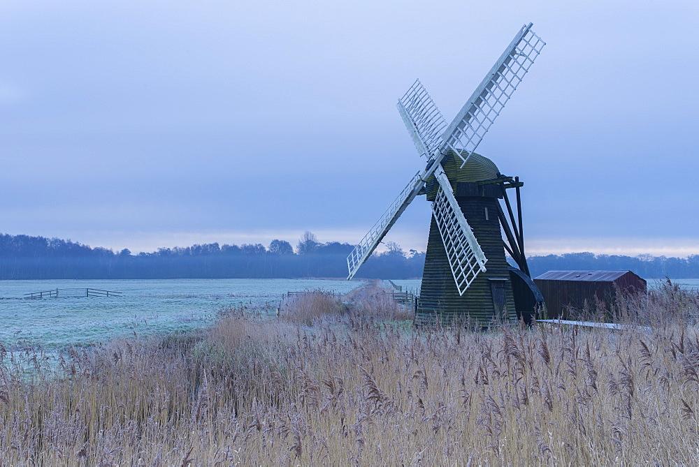 A view of Herringfleet Smock Mill at Herringfleet, Suffolk, England, United Kingdom, Europe