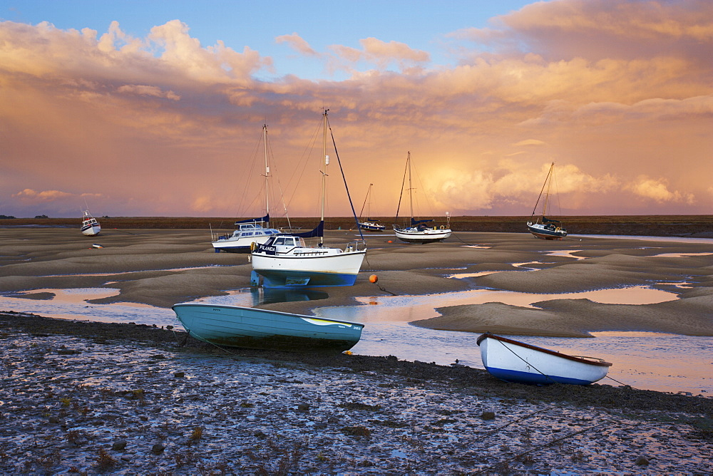 A spectacular sky on an autumn day at Wells-next-the-Sea harbour on the North Norfolk coast, Norfolk, England, United Kingdom, Europe