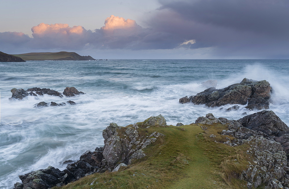A stormy coastal scene from Sango Bay, Durness, Sutherland, Scotland, United Kingdom, Europe - 842-500