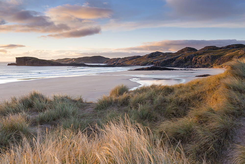 Late evening light on the dunes at Oldshoremore, Sutherland, Scotland, United Kingdom, Europe - 842-506
