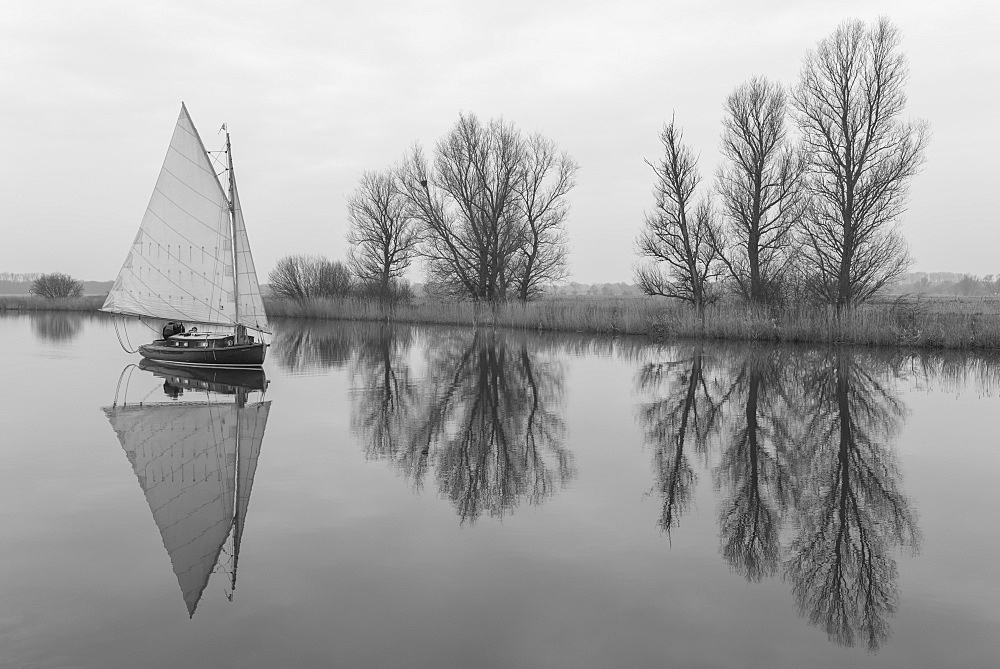 A sailing boat on the River Bure at St. Benets Abbey, Norfolk, England, United Kingdom, Europe