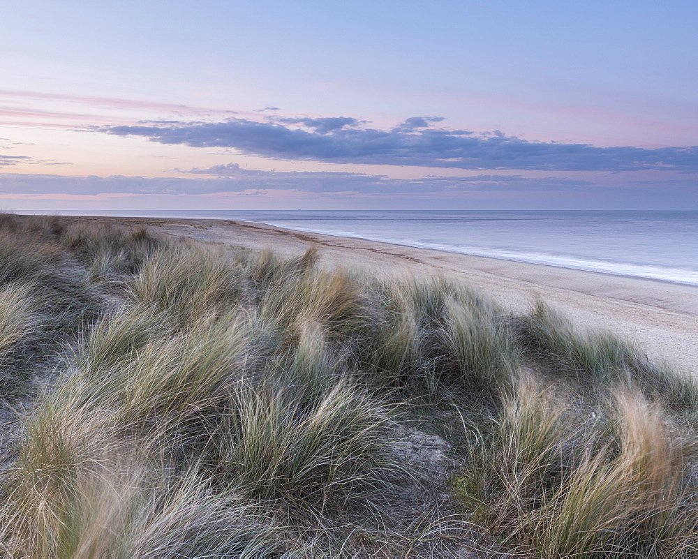Subtle twilight colours at Winterton on Sea, Norfolk, England, United Kingdom, Europe