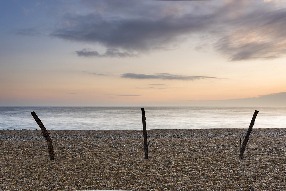 A spring dawn on the shingle beach at Salthouse, Norfolk, England, United Kingdom, Europe