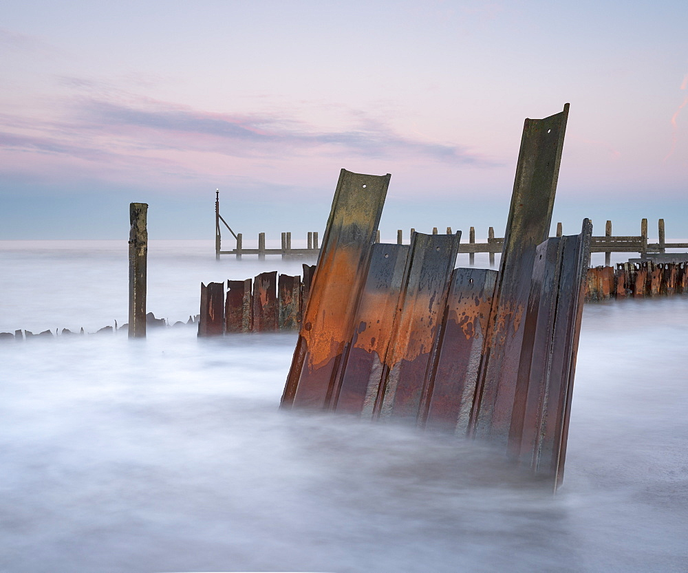 Sea defences at Happisburgh, Norfolk, England, United Kingdom, Europe - 842-526