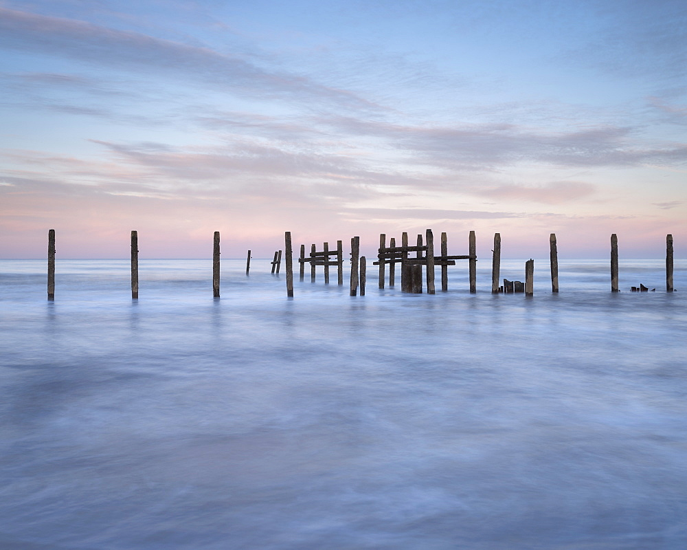 Sea defences at low tide at Happisburgh, Norfolk, England, United Kingdom, Europe