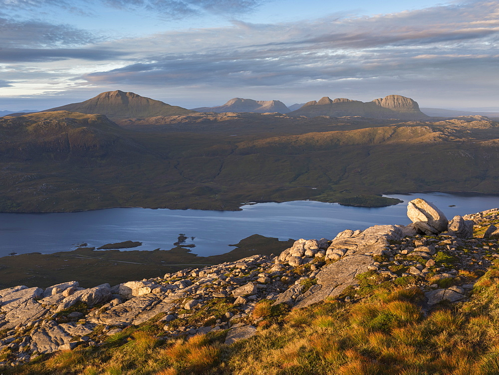 A view across to the mountains of Assynt from the slopes of Quinag, Sutherland, Highlands, Scotland, United Kingdom, Europe - 842-535