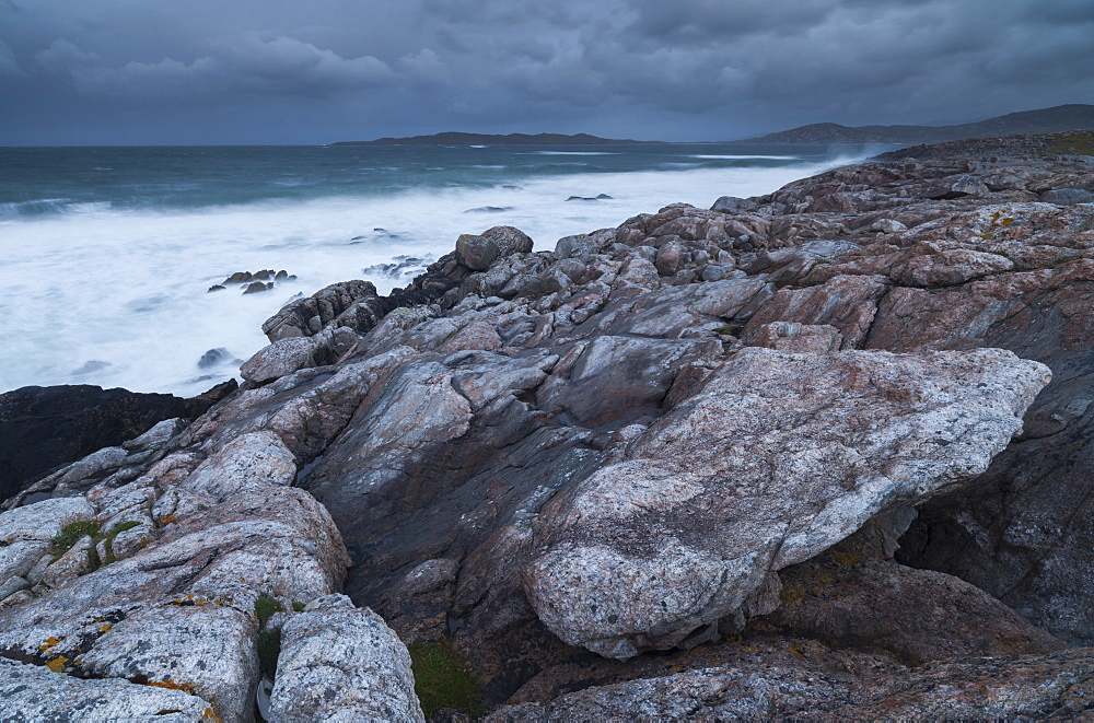 A stormy morning on the coastline near Borve, Isle of Harris, Outer Hebrides, Scotland, United Kingdom, Europe - 842-541