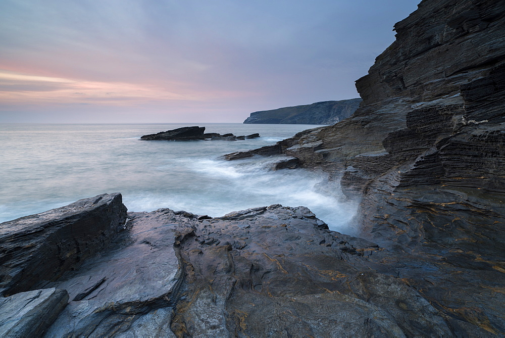 A coastal scene from Trebarwith Strand, Cornwall, England, United Kingdom, Europe - 842-553