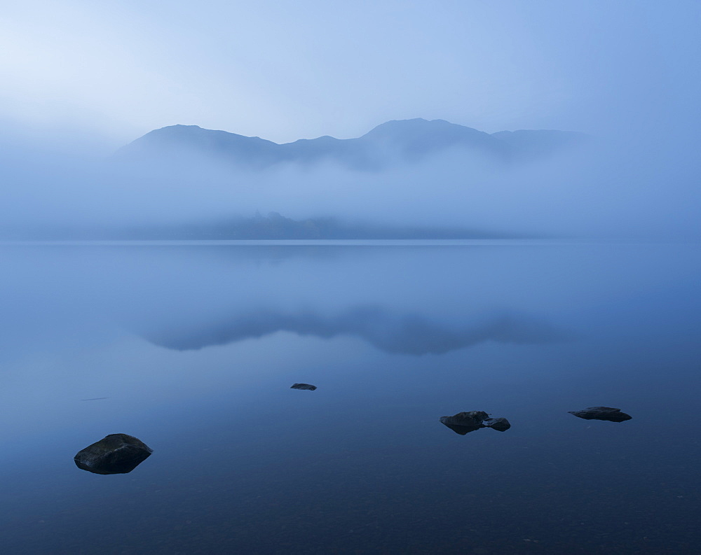 Pre-dawn view across Ullswater, Lake District National Park, Cumbria, England, United Kingdom, Europe - 842-556