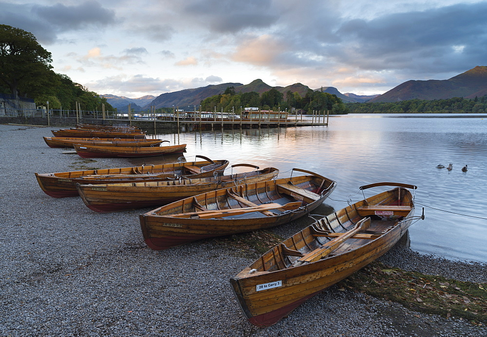 Pleasure boats on the shore at Derwentwater, Lake District National Park, Cumbria, England, United Kingdom, Europe - 842-557