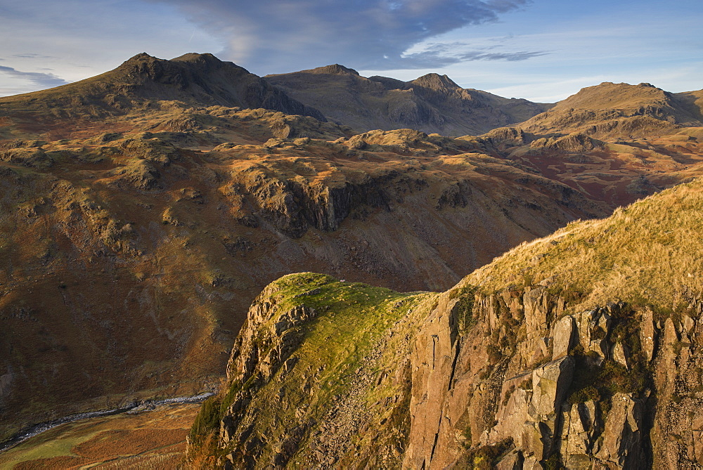 Late evening light on the Scafells from above Hardknott Fort, Lake District National Park, Cumbria, England, United Kingdom, Europe - 842-560