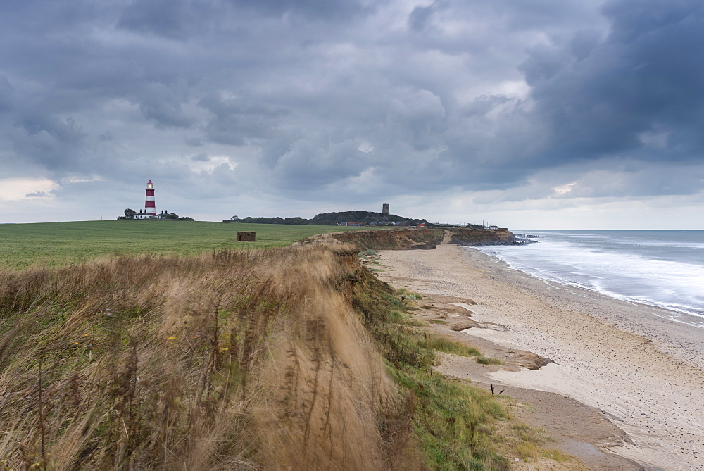 A moody sky looms over the coast at Happisburgh, Norfolk, England, United Kingdom, Europe - 842-564