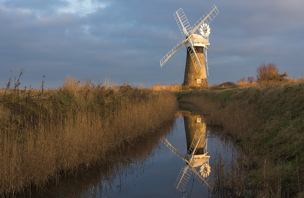 Beautiful early light on St. Benet's Mill, Norfolk, England, United Kingdom, Europe