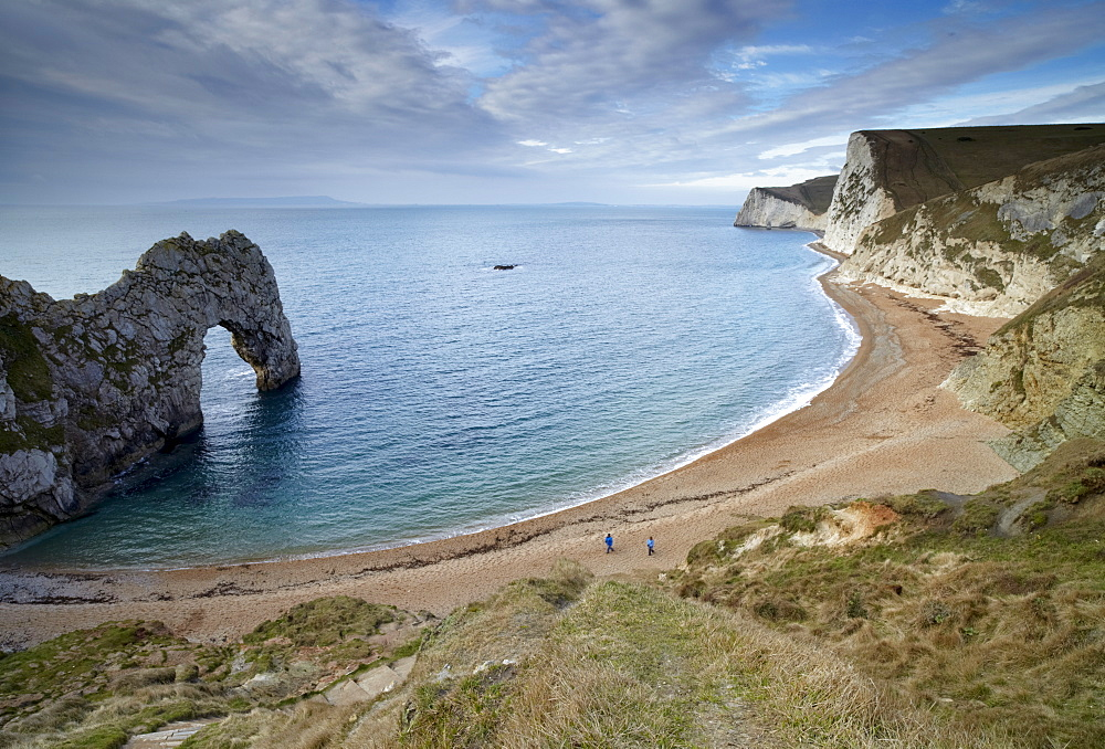 A view of Durdle Door, Swyre Head and Bat's Head with the Island of Portland on the horizon, Jurassic Coast, UNESCO World Heritage Site, Dorset, England, United Kingdom, Europe