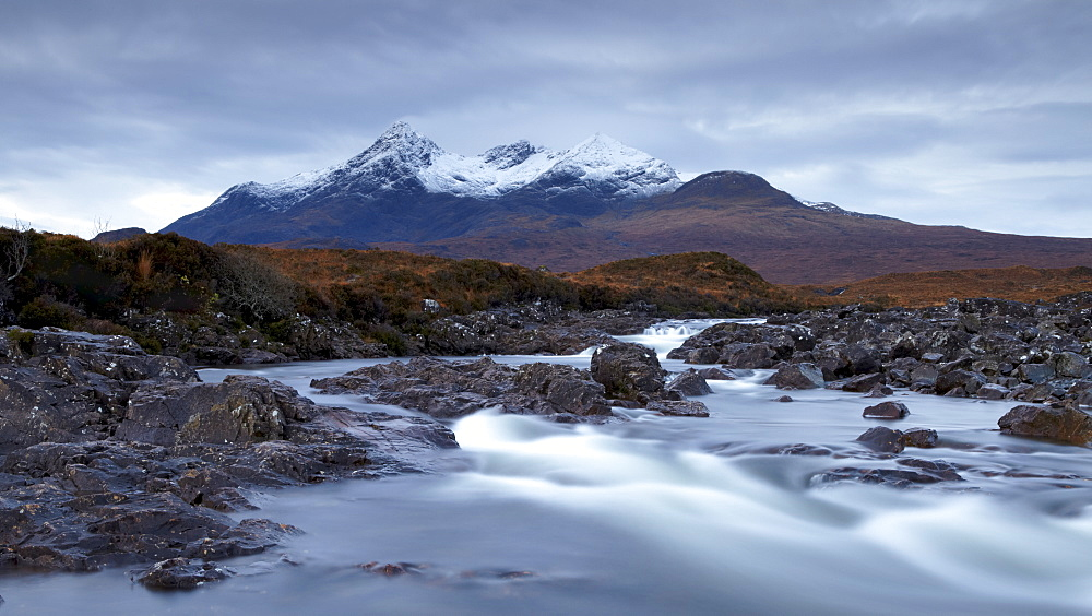 A November morning view of the Black Cuillin mountain Sgurr nan Gillean, Glen Sligachan, Isle of Skye, Scotland, United Kingdom, Europe